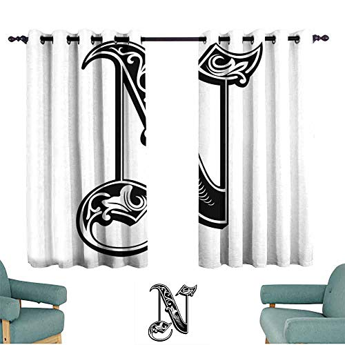 (HCCJLCKS Light Luxury high-end Curtains Letter N Gothic Victorian Style Typography Classic Capital Character N with Floral Swirls Soft Texture W63 xL63 Black White)