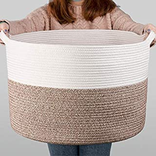 "INDRESSME XXXLarge Cotton Rope Basket 21.7"" x 21.7"" x 13.8"" Woven Baby Laundry Blanket Basket Toy Basket with Handle Storage Comforter Cushions Thread Laundry Hamper"
