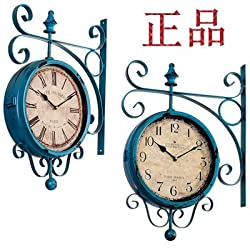 TNKML Large Indoor Decorative Wall Clock Distressed Double-Sided Retro Two-Sided Wrought Iron Classic Living Room Kitchen Metal Rustic Silent Creative Clock, 12