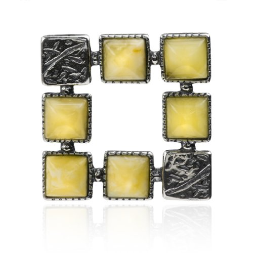 Sterling Silver Butterscotch Amber Squares Pendant