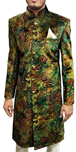 INMONARCH Mens Green 3 Pc Wedding Sherwani Printed Fabric SH495S38 38 Short Green by INMONARCH