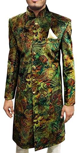 INMONARCH Mens Green 3 Pc Wedding Sherwani Printed Fabric SH495S52 52 Short Green by INMONARCH