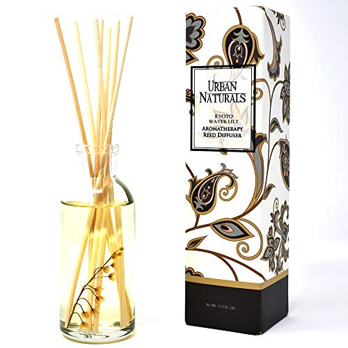 Urban Naturals Kyoto Water Lily Reed Diffuser Sticks Gift Set   Waterlily, Lily of The Valley, Magnolia, Sandalwood and Ozonic Notes   Beautiful & Decorative with Real Lily of The Valley Flowers!