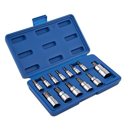 Neiko 10073A Tamper Proof Torx Bit Socket Set, T8 - T60, S2 Steel   13-Piece Set