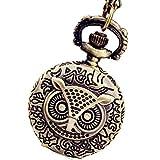 Lancardo Ladies Bronze Tone Owl Hunter Case Necklace Pocket Watch with Gift Bag