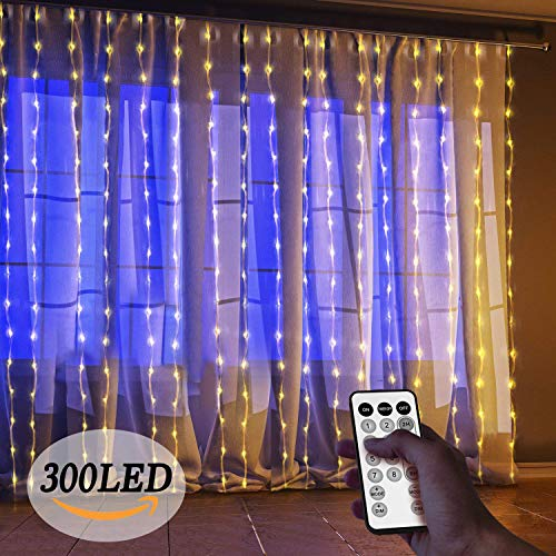 Window Curtain Lights, LED Outdoor String Light, 300 Icicle Christmas Lights, 8 Modes Setting for Bedroom Home Wall Decorations Garden and Wedding Party (Warm White)