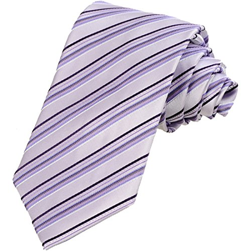 KissTies Mens Necktie Lilac White Lavender Striped Tie + Gift Box
