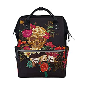 ALINLO Day of The Dead Sugar Skull Nappy Changing Bag Diaper Backpack with Large Capacity Multi-Function Pushchair…