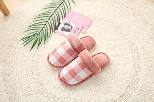 Y-Hui zapatillas de algodón, fresco invierno zapatillas Plaid, hogar cálido zapatillas,44/45,de cuero rojo