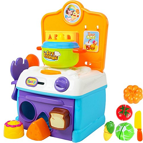 FUNERICA Compact Toy Kitchen Set Toddlers - Toy Stove Top Play Oven Lights Sounds - Includes Shape Sorter Food Toy Pieces Oven Cutting Play Vegetables - Toy Pot & Play Kitchen Utensils