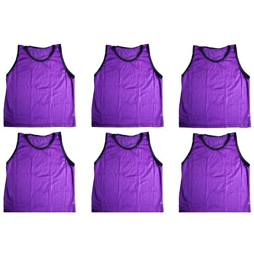 BlueDot Trading Youth Sports Pinnie Scrimmage Training Vest, Purple, 6 Pack