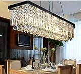 Siljoy L39.5″ X W10″ X H10″ Clear K9 Rectangle Crystal Polished Chrome Frame Modern Crystal Chandelier Ceiling Light Fixture Lighting