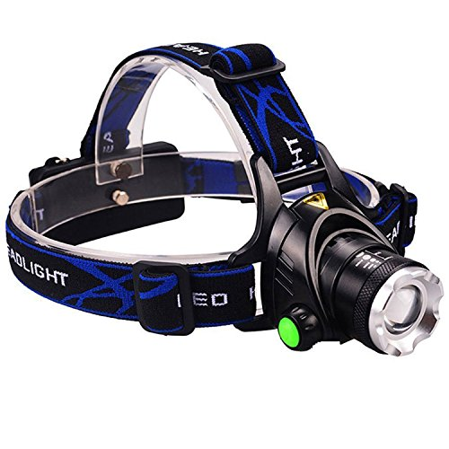 DLAND Ultra Bright Headlamp with Rechargeable Batteries, LED Light Waterproof Zoomable 3 Modes 1000 Lumens hands free Headlight Torch flashlight