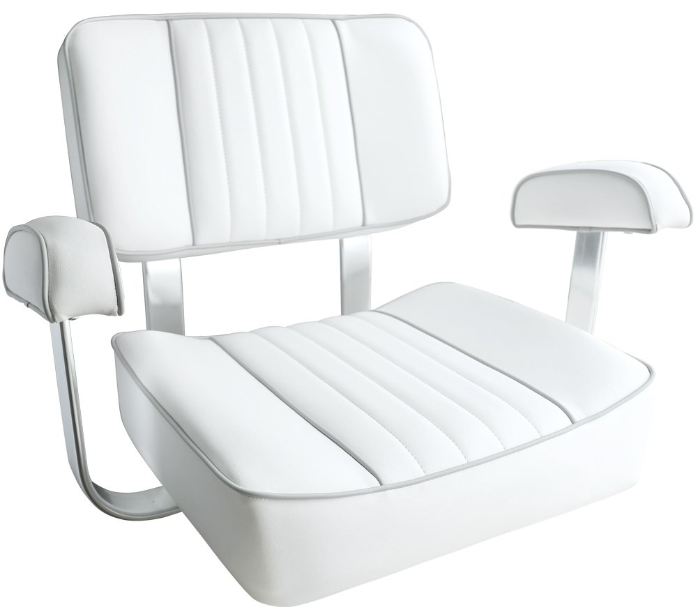 Leader Accessories White Captain's Seat Boat Seat With Arm Rest by Leader Accessories