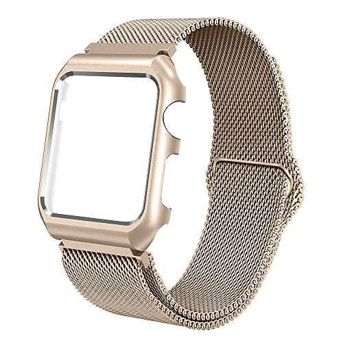 ALNBO Compatible with 42mm Watch Band Stainless Steel Mesh Magnetic Replacement Wrist Band with Metal Protective Case for Series 3 Series 2 Series 1 Retro Gold - Protective Case Metal