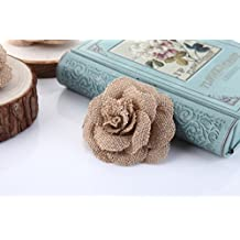 Handmade Burlap Flowers with Lace Craft YW (Pack of 12) (Style #7)