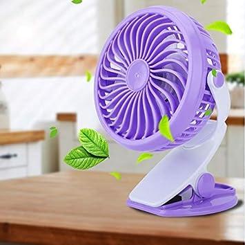 Ventilador de Mesa Mini USB, con 2 velocidades Ajustables Silencioso Pportátil con Clip para casa Oficina Púrpura