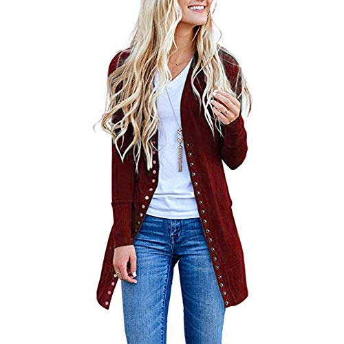 Women's Long Cardigan, Wugeshangmao Ladies Solid Long Button Down Coat Jacket Female Open Front Cardigan Wine Red