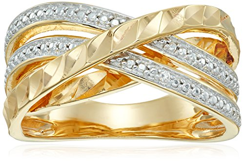 18k Yellow Gold Plated Sterling Silver Two Tone Diamond Accent and Illusion Criss Cross Ring, Size 7 - Diamond Accent Criss Cross Ring