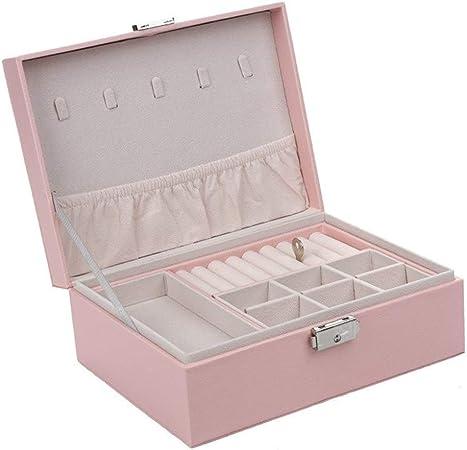 Gu3Je Joyero Joyero, joyería Caja de Almacenamiento con la Cerradura, for niñas y Mujeres para Guardar Joyas (Color : Pink, Size : 23x17x9cm): Amazon.es: Hogar