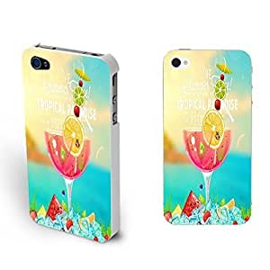 Vivid Color Print Custom Designed Iphone Case Cute Hard Plastic Case Cover Shell for Iphone 4 4s Colorful Case Skin (summer juice BY633)