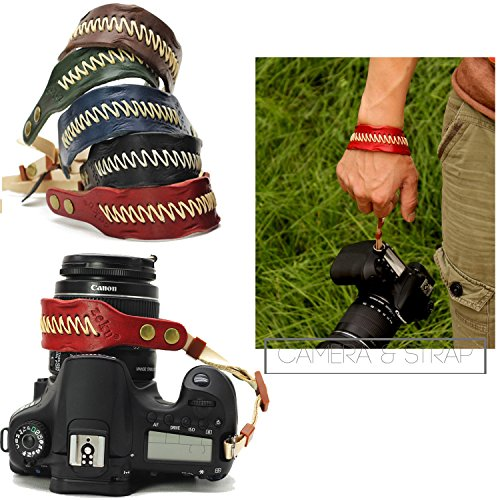 Nicad Camera Leather Wrist Strap - Comfort Padding, Enhanced Hand Grip Stability and Security for All DSLR Cameras Canon Nikon Pentax Olympus Fujifilm X100F X-T20 X-T2 X70 X-Pro2 ,Sony A6000 A630(Red)
