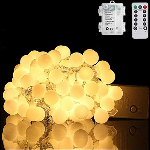 HFF LED String Lights 33ft 100 LEDs Battery Operated String Lights Globe Fairy Lights with Remote Control for Outdoor/Indoor Bedroom,Garden,Christmas Tree[8 Modes,Timer ] (Warm White) (Trees Outdoor Ball Lights For Christmas)
