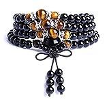 Onlineb2c Obsidian Multilayer Tiger Eye Tibetan Buddhist Buddha Prayer Beads Mala Bracelet Necklace