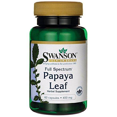 Swanson Papaya Leaf Digestive Health Plant-Based Enzymes Digestion Health Support Supplement (powdered papaya leaf) 400 mg 60 Capsules