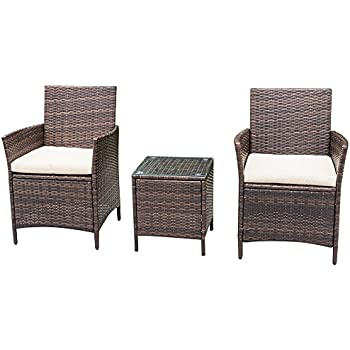 Homall 3 PC Wicker Outdoor Patio Furniture Set Rattan Chair,Outdoor/Indoor  Use For Part 38