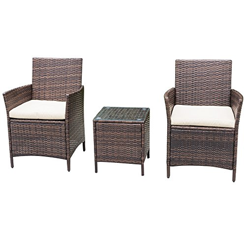 Homall 3 PC Wicker Outdoor Patio Furniture Set Rattan Chair,Outdoor/Indoor Use for Backyard Porch Garden Poolside Balcony with Beige Cushion (Brown) (Wicker Porch Chairs)