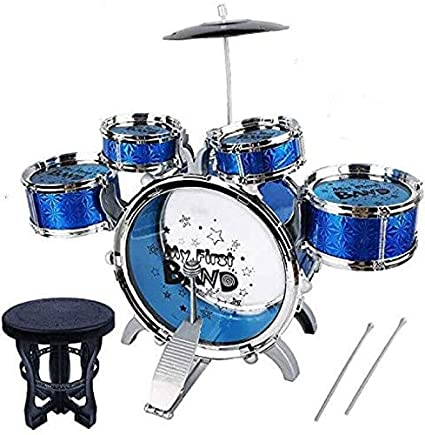 SR TOYS Music Jazz Big Size Musical Drum Set with 5 Drums Toy (Blue)