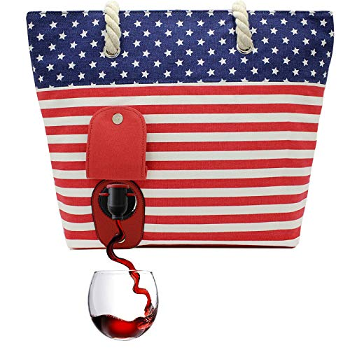 (PortoVino Beach Wine Tote (USA) - Beach Bag with Hidden, Insulated Compartment, Holds 2 bottles of Wine!)