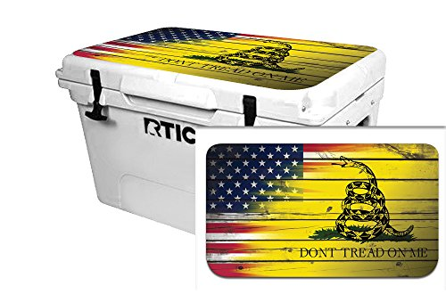 USA Tuff Thickest & Toughest Wrap 24Mil Decal fits New or Old Style RTIC 65QT Cooler Lid Kit – USA Don't Tread Color Wood