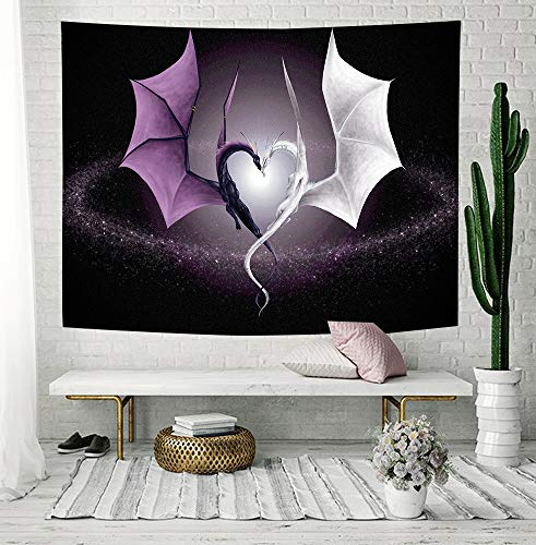 NYMB Creative Heart Shaped Dragon Tapestry, Fantasy Wild Animals, Wall Art Hanging for Bedroom Living Room Dorm, 71 X 60 inches Wall Blankets Home Decor