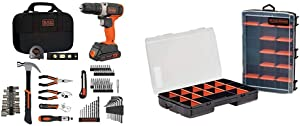 beyond by BLACK+DECKER Home Tool Kit with 20V MAX Drill/Driver, 83-Piece & Tool Organizer, 17-Compartment, 2-Pack (BDPK70284C1AEV & BDST60779AEV)