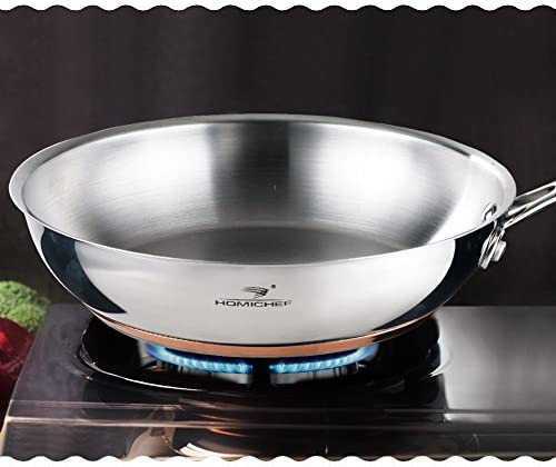 HOMI CHEF Mirror Polished Copper Band NICKEL FREE 9.5-Inch Fry Pan Stainless Steel No Toxic Non Stick Coating – Induction Cookware Frying Pan – Skillet Pan Flat – Nickel Free Pans Skillets
