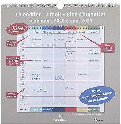 Oberthur   1 Calendrier d'organisation 12 mois   Septembre 2020 à