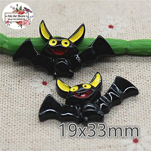(ZAMTAC 10pcs Resin Halloween bat Flat Back Cabochon Art Supply Decoration Charm Craft DIY Hair Bow)