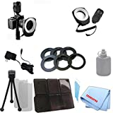 LED Universal Macro Ring Light w/ 48 Bulbs for Nikon D300, D610, D600, D70, D700, D7000, D7100, D800, D800E, D3000, D3100, D3200, D3300, D5000, D5100, D5200, D5300, D90, DF, 1 J1, 1 V1 &More with Six Adapter Rings + 6pc Memory Card Case + Starter Kit