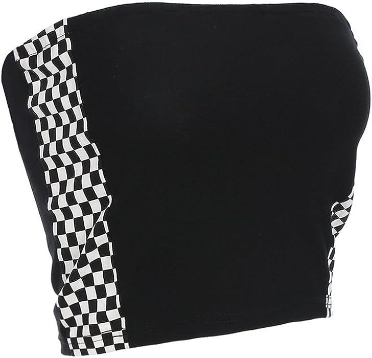 f49569253b0c56 Azigongyey Women Checkerboard Sexy Tube Top Strapless Wrap Top Black Plaid  Tees Shirt (S)