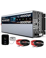 Pure Sine Wave Power Inverter 4000Watt 24V DC to AC 110V 120V Peak Power 8000Watt with Remote Control 4 AC Outlets and Dual USB Port for CPAP RV Car Solar System Emergency