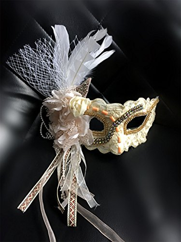 LY-YY Golden Lace Fashion Stage Halloween Ball Fringe Feather Mask Party Mask Upscale Beauty -