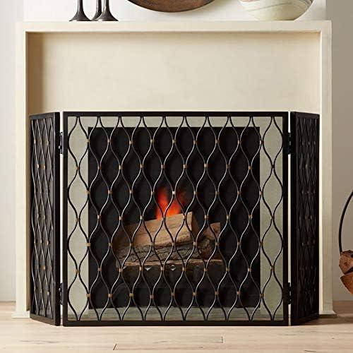 暖炉スクリーン MYL メッシュカバー付きブラック3-パネル錬鉄の暖炉スクリーン - リビングルームベビー金庫暖炉フェンススパークガード装飾幾何学的なデザイン (Color : Black)