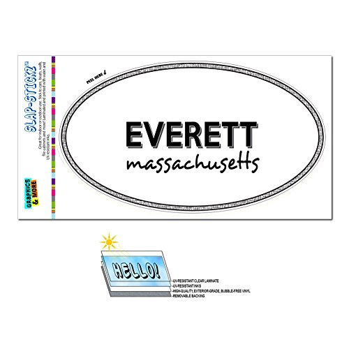 Graphics and More Euro Oval Window Bumper Laminated Sticker Massachusetts MA City State Eas - Lun - (City Of Everett Ma)