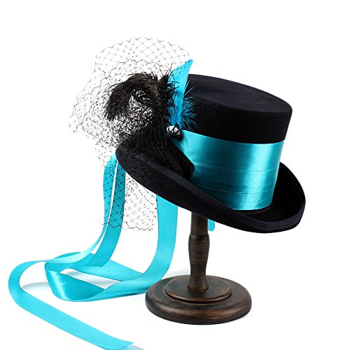 Battle Men Wedding Hats For Women's Victorian Style Steampunk MAD Hatter Bowler Top Hat Ribbon & Feather Decor Wide Brim (Color : 1, Size : 61CM) by Battle Men