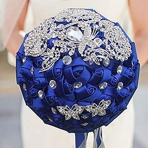 TONGxo Wedding Bouquet Hand Made Rhinestone Satin Roses Bride Holding Simulation Bouquets for Home Wedding Decoration (18CM) 37