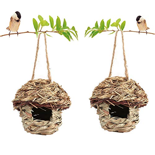 (2 Pack Bird House for Outside, Hummingbird House Hanging Bird Nest, Grass Bird HutFiber Hand-Woven Bird House Roosting Pocket, Bird Hideaway from Predators Provides shelter for Finch & Canary (2))