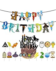 Harry Potter Wizard Banner Harry Potter Wizard Cake Topper Happy Birthday Harry Potter Cupcake Toppers Themed Party Decorations