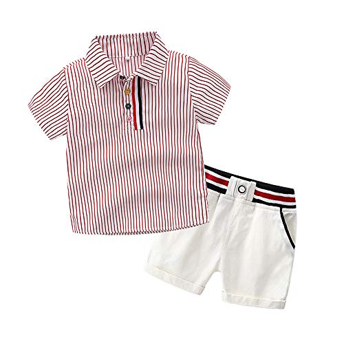 Top and Top Toddler Baby Boys Short Sleeve Button Down Red Striped Shirts Short Pants Clothing Sets (90/2T)